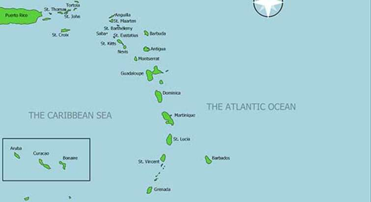 Map of the Lesser Antilles
