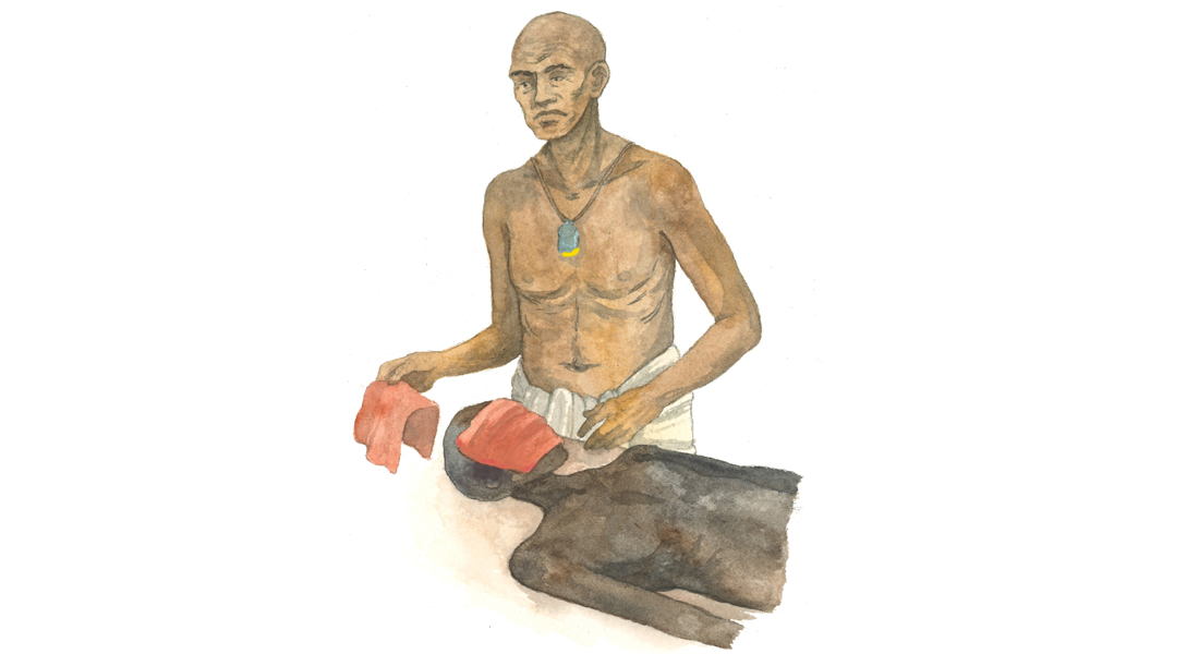 The papyrus contains new evidence of the procedure for embalming the deceased's face, where the face is covered with a piece of red linen and aromatic substances. Illustration: Ida Christensen