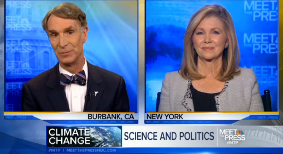 Debate on climate change on NBC's Meet the Press - one for, one against
